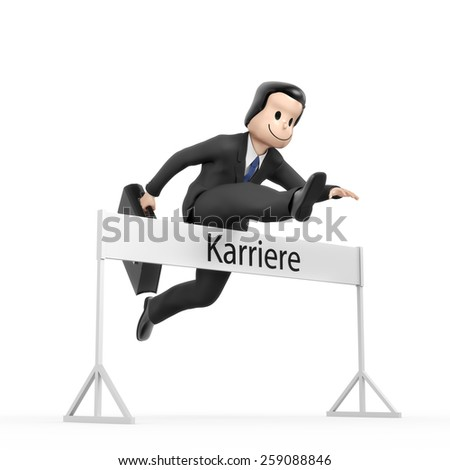 Businessman jumping over hurdle - field career - stock photo