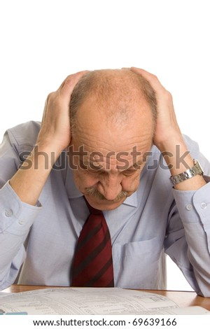 businessman keeps for a head isolated - stock photo