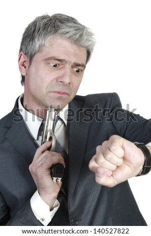 Businessman late for an important meeting... wants to shorten the agony.../Desperate businessman - stock photo