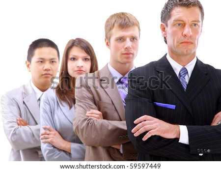 businessman leading a business team in a line - stock photo
