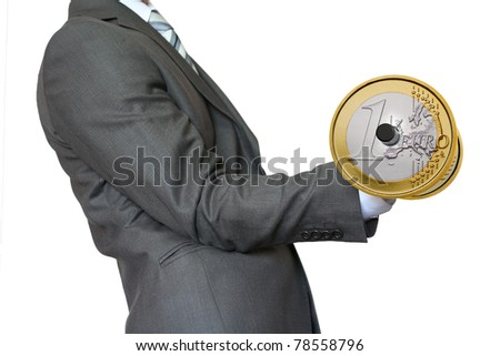 "Businessman lifting dumbbell gold ""Euro"""