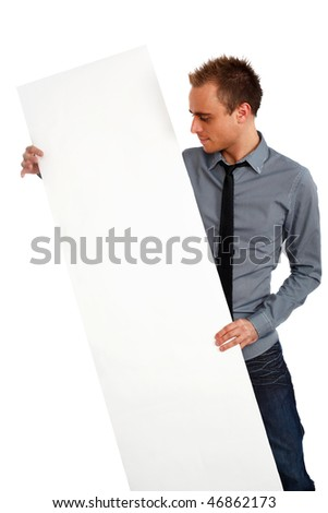 businessman looking at blank banner