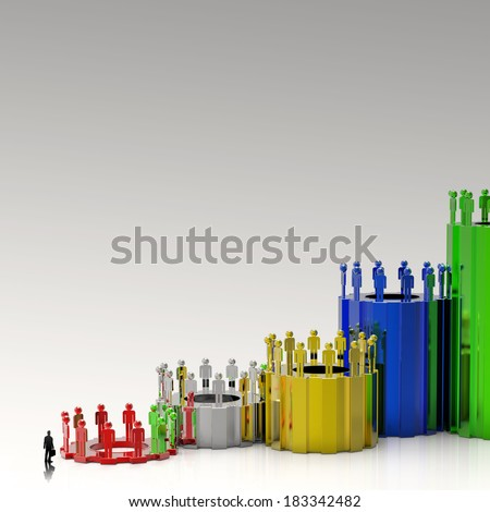 businessman looking at Business cog graph bar growth as concept  - stock photo