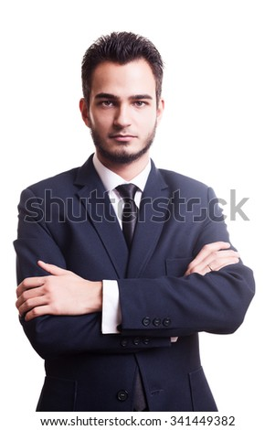 Businessman looking at camera on white background in studio photo. Business problems - stock photo