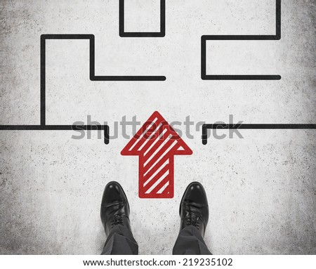 Businessman looking at complicated maze. A concept of start up project.  - stock photo
