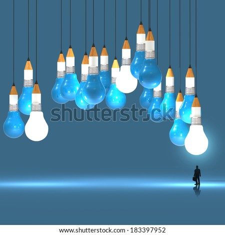 businessman looking at 3d pencil and light bulb concept creative and leadership as concept