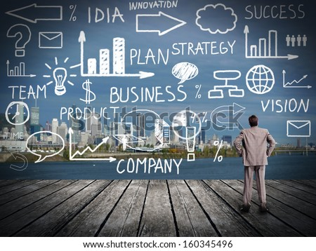 Businessman looking at Innovation plan. Business background - stock photo