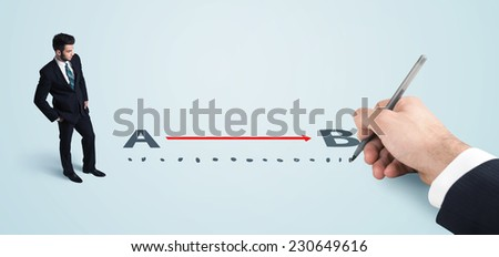 Businessman looking at red line from a to b drawn by hand concept on background - stock photo