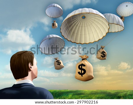 Businessman looking at some money bags falling from the sky with a parachute. Digital illustration. - stock photo