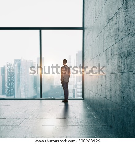 Businessman looking at sunset - stock photo