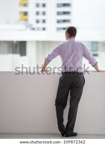 Businessman looking at the city - stock photo