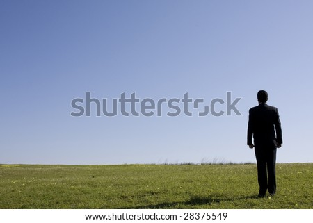 businessman looking away in the field - stock photo