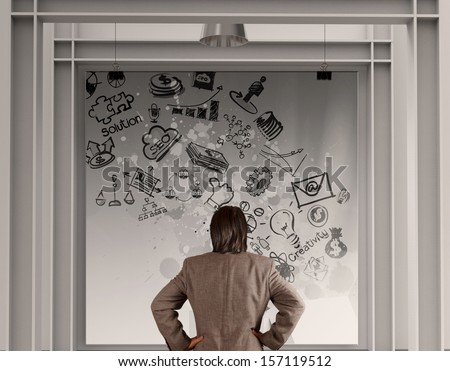 businessman looking  business concept on poster with composition wall - stock photo