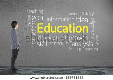 Businessman looking Education text wording in cloud concept