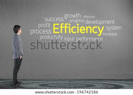 Businessman looking Efficiency text wording in cloud concept