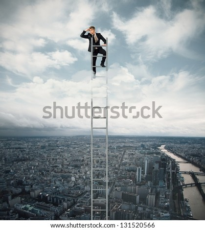 Businessman looking for job on a stairs - stock photo