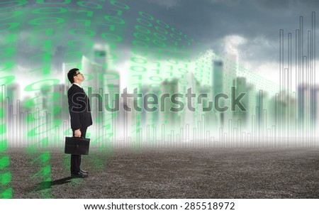 Businessman looking forward for find his target before investment. - stock photo