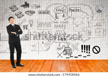Businessman looking graph business for explain something - stock photo