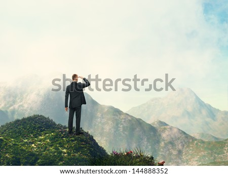 businessman looking landscape - stock photo