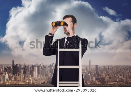 Businessman looking on a ladder against balcony overlooking city - stock photo