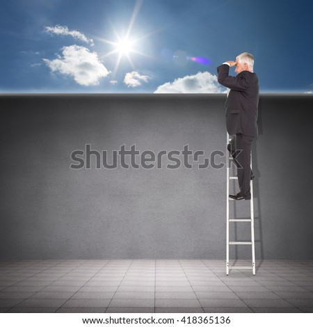 Businessman looking on a ladder against cloudy sky with sunshine - stock photo