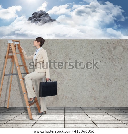 Businessman looking on a ladder against mountain peak through the clouds