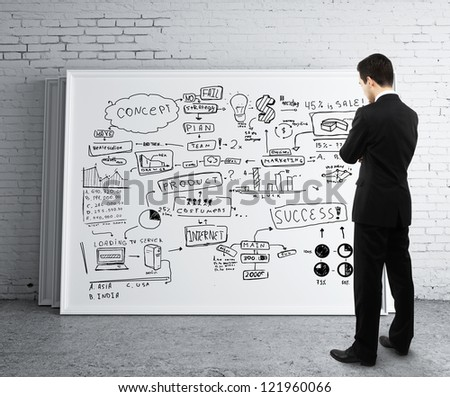 businessman looking poster with business strategy - stock photo