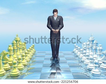 Businessman looking sad for defeat on chessboard - 3D render - stock photo