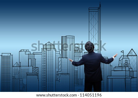businessman Looking the city