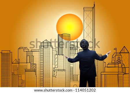 businessman Looking the city on sunrise