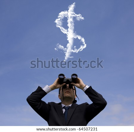 Businessman looking through binoculars to a dollar sign at the sky - stock photo
