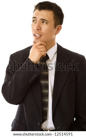 Businessman looking to the side in contemplation. - stock photo