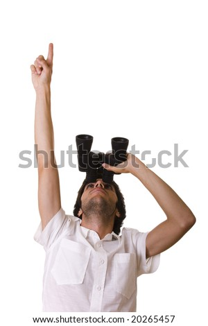 businessman looking up with his binocular and pointing to the copy space - stock photo