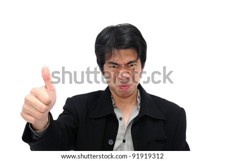 Businessman making a funny face - stock photo