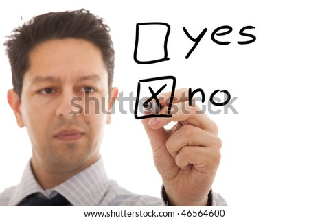 businessman making a negative decision - stock photo