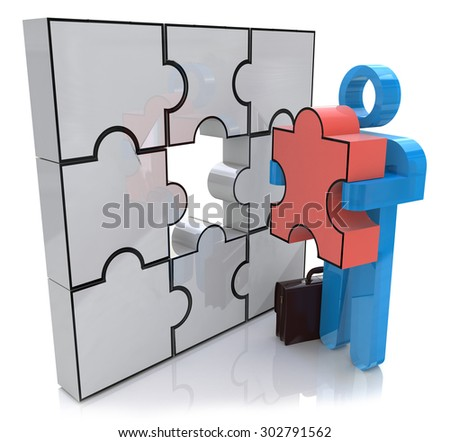 Businessman making a puzzle on the wall. Solution Concept  - stock photo