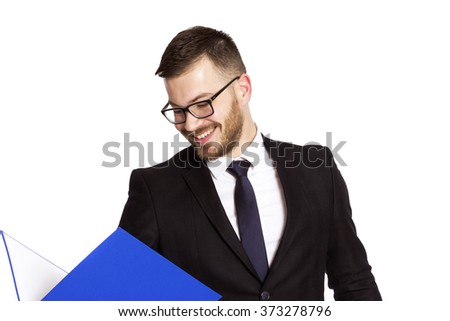 businessman man with  notebook isolated