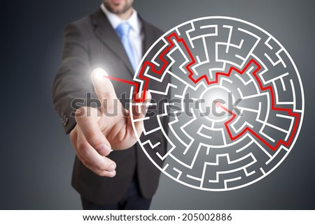 Businessman maze concept - stock photo