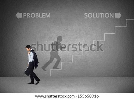 Businessman must choose between different destinations - stock photo
