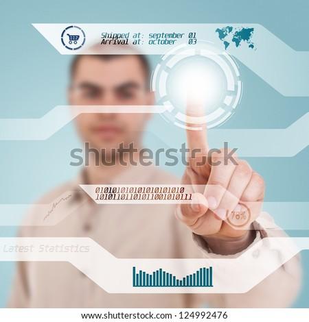 Businessman navigating interface in future - stock photo