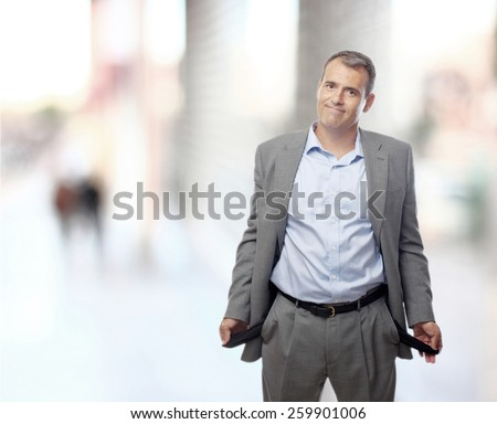 businessman no money on the street - stock photo