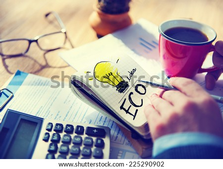 Businessman Notepad Word Eco Concept - stock photo