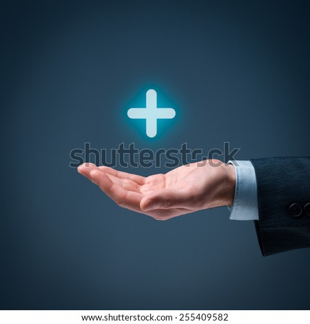 Businessman offer positive thing (like benefits, personal development, social networking) represented by plus sign.  - stock photo