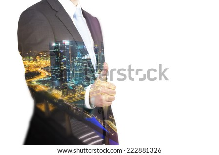 Businessman offering for handshake. Isolated on white background.