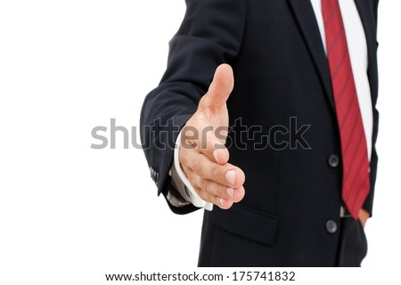 Businessman offering for handshake over white background. Copy space. - stock photo