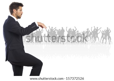 businessman on a crowd - stock photo