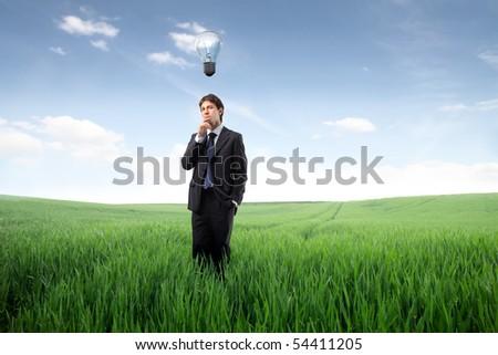 Businessman on a green meadow having an idea - stock photo