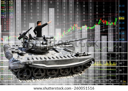 Businessman on a tanks with confidence and diagrams rising stock - stock photo