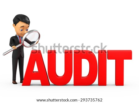 businessman on a white background analyzes audit - stock photo