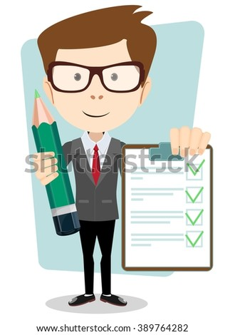 Businessman on a white background with pencil and ticks.Young pretty man. Stock illustration. - stock photo